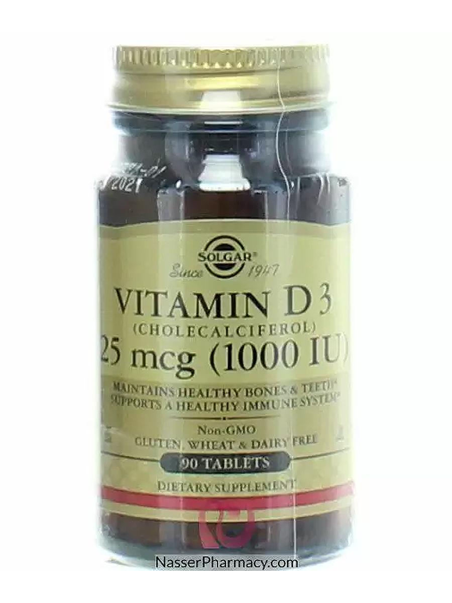 Купить Витамин Д3 25 мкг, Витамин Д3, холекальциферол Solgar 25 мкг (1000 МЕ), 90 капсул