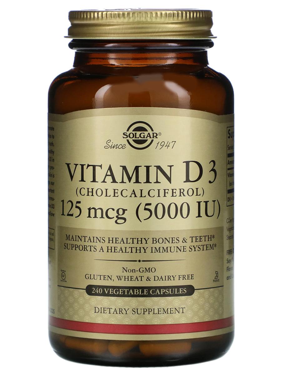 Купить Витамин Д3 (холекальциферол) Solgar 125 мкг (5000 МЕ), 240 капсул