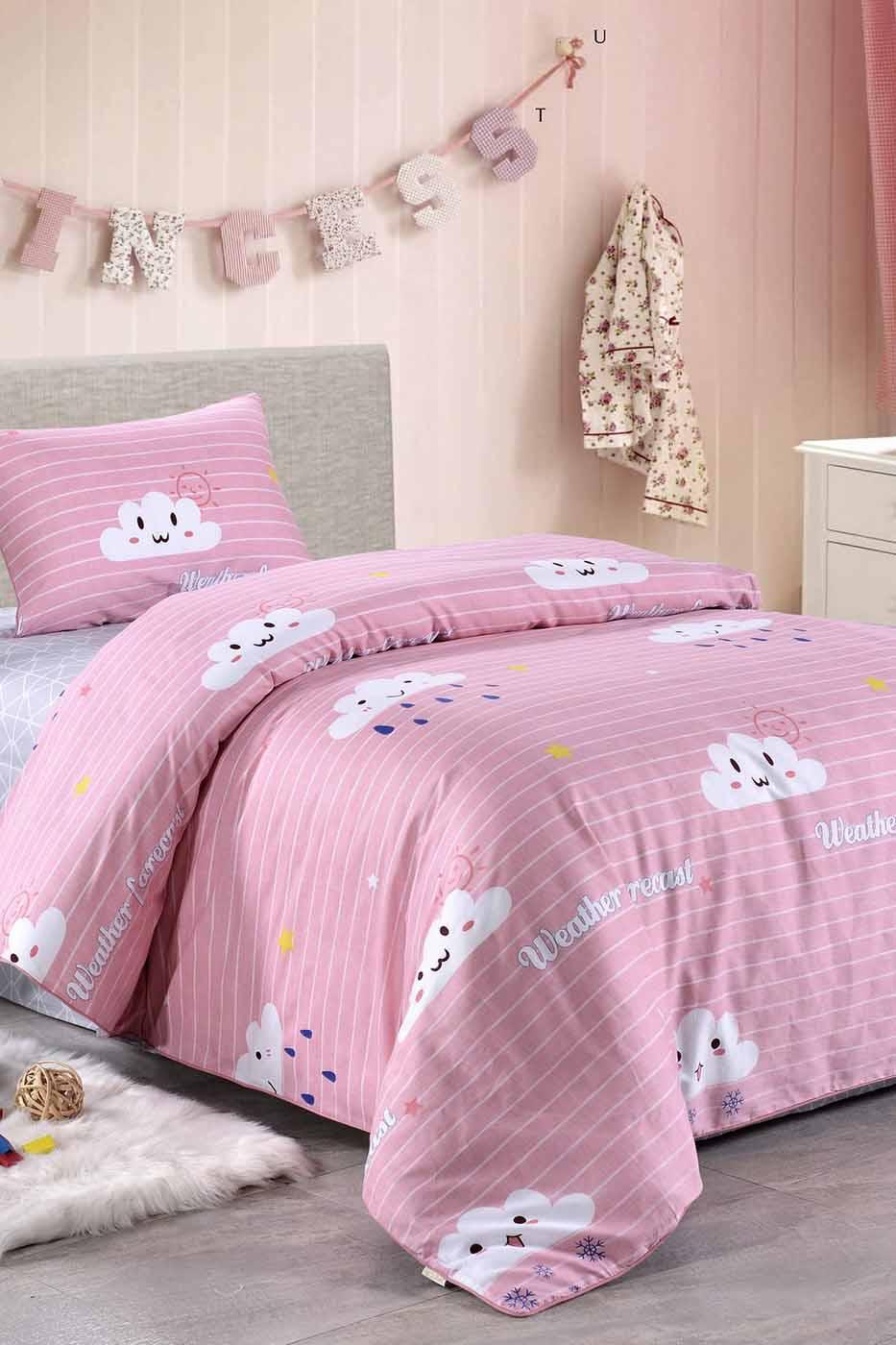 Купить Комплект постельного белья Веселые тучки, детский, цвет: розовый, Sofi dе Marko,