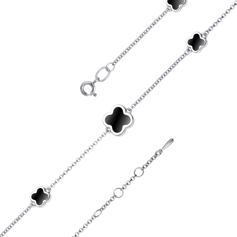 Браслет женский АЛЬКОР 05-1316/0ЭМ3-00 из серебра, эмаль, регулируемый
