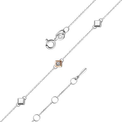 Браслет женский АЛЬКОР 05-1586/000Б-00 из серебра, бриллиант, регулируемый
