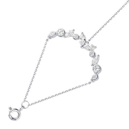 Браслет женский АЛЬКОР 05-1565/00КЦ-00 из серебра, фианит, регулируемый