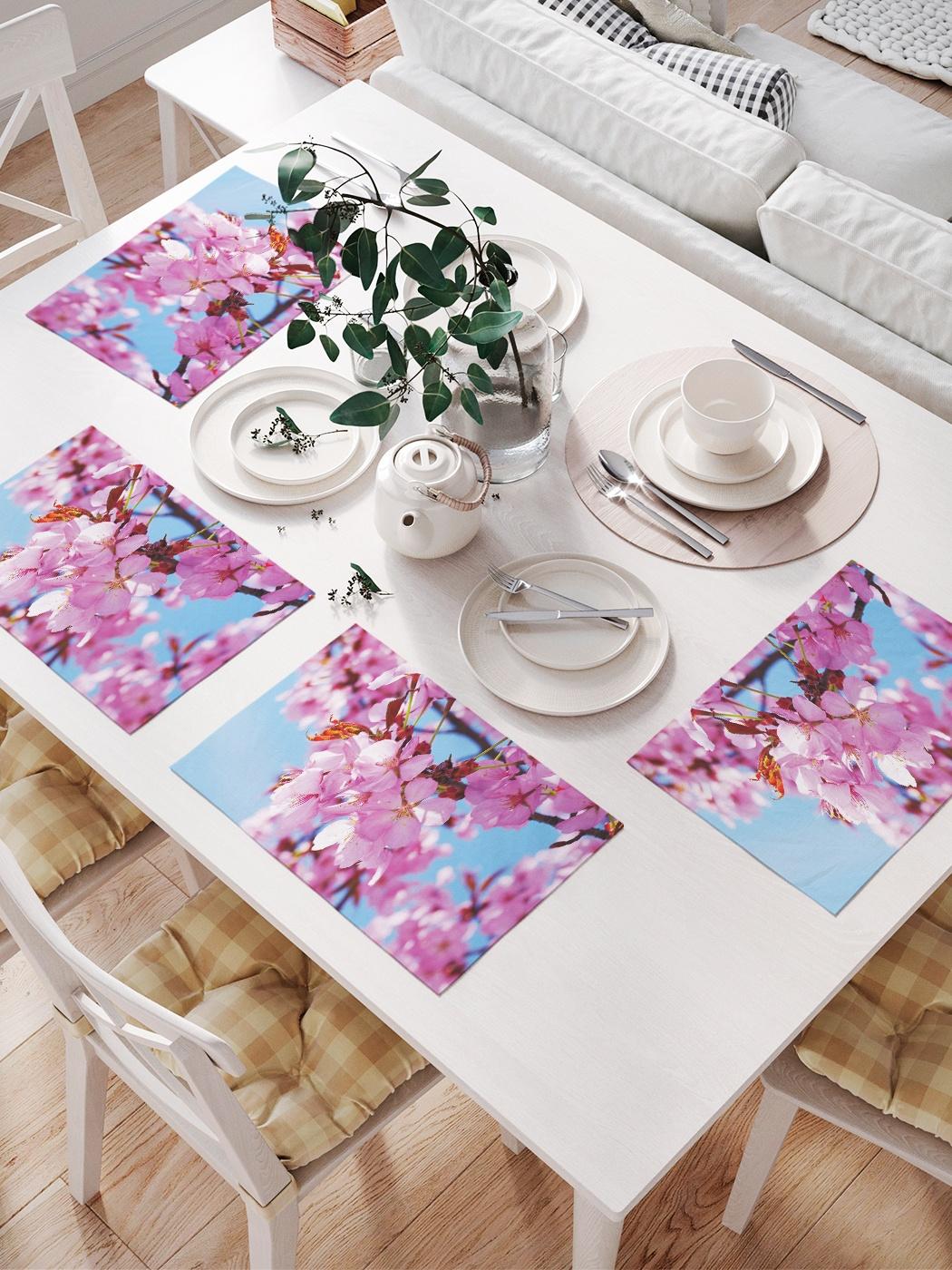 Комплект салфеток для сервировки стола «Розовая сакура» (32х46 см, 4 шт.)
