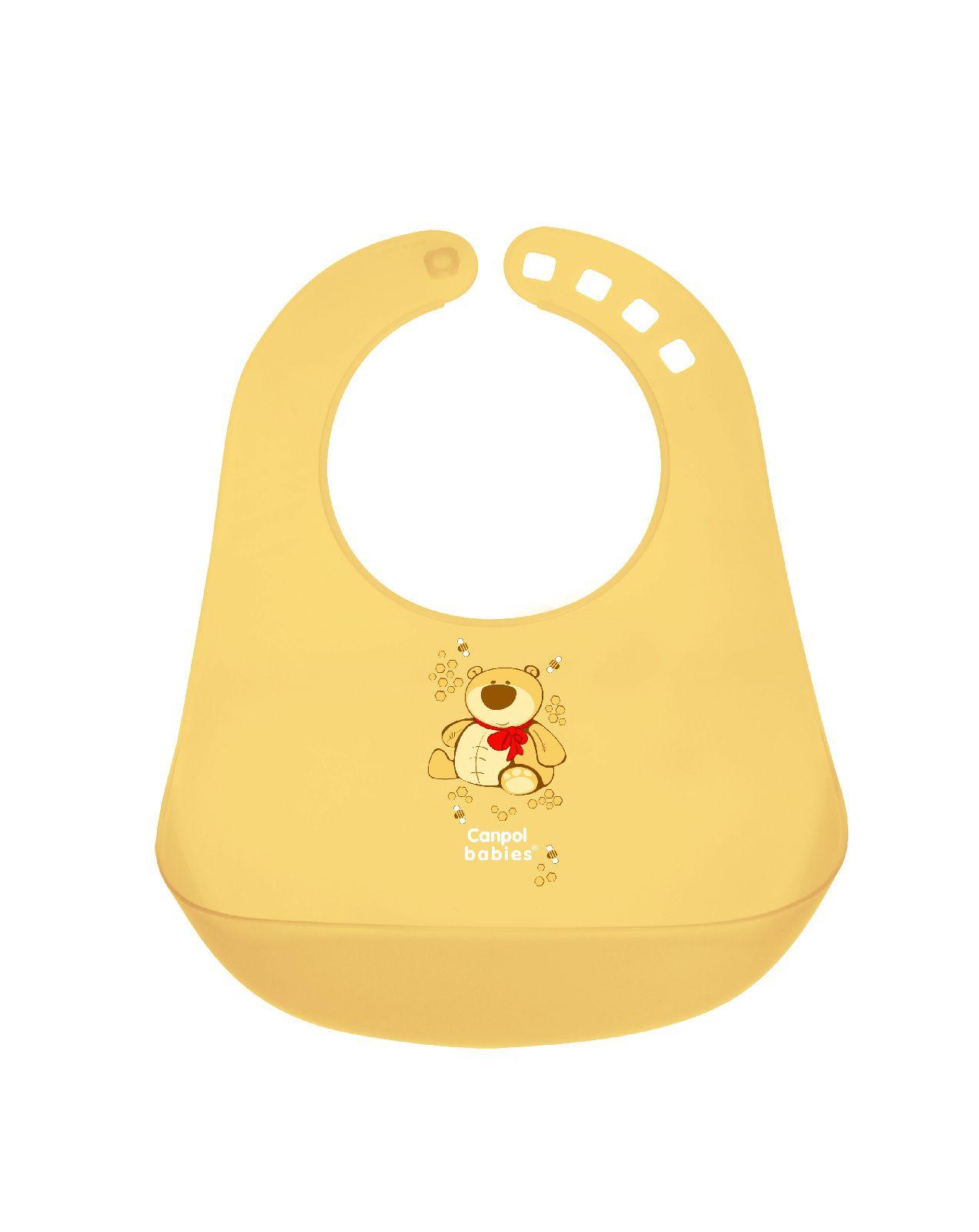 Купить Нагрудник пластиковый Canpol арт. 2/404 цвет желтый, Canpol Babies,