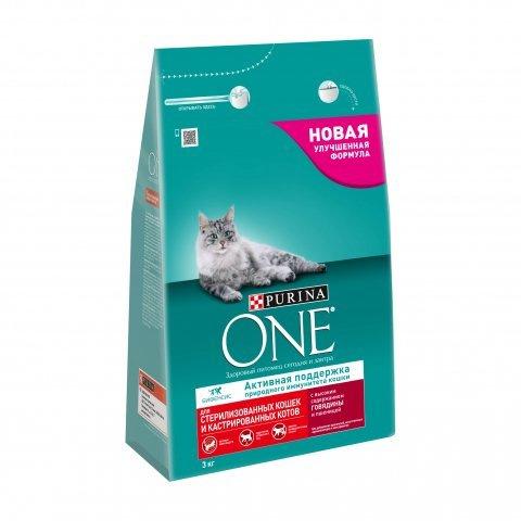 Сухой корм для кошек Purina One, для стерилизованных, говядина, пшеница, 3кг фото