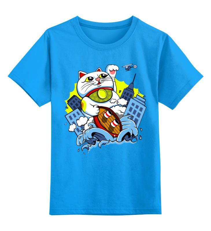 Детская футболка Printio Котик цв.голубой р.152 0000002647642 по цене 990
