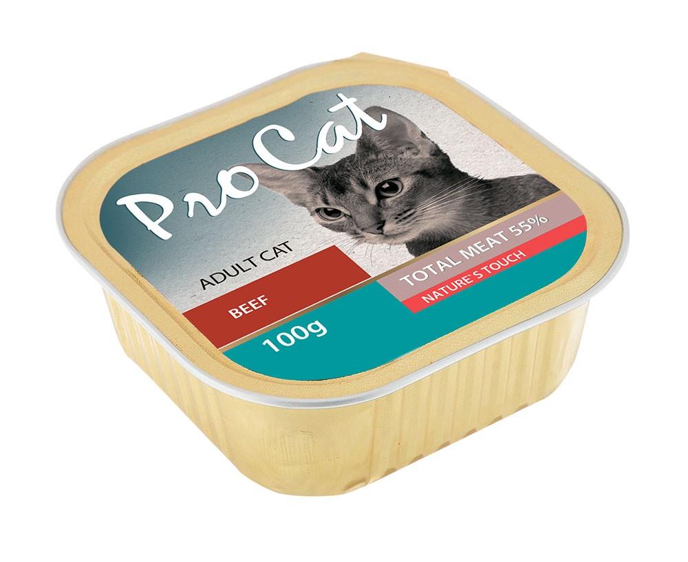 Корм для кошек PRO CAT говядина конс. 100г (упаковка - 16 шт)