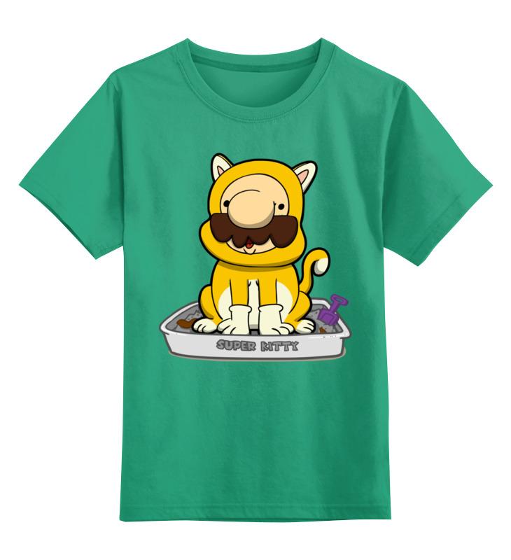 Детская футболка Printio Варио кот цв.зеленый р.152 0000002717264 по цене 990