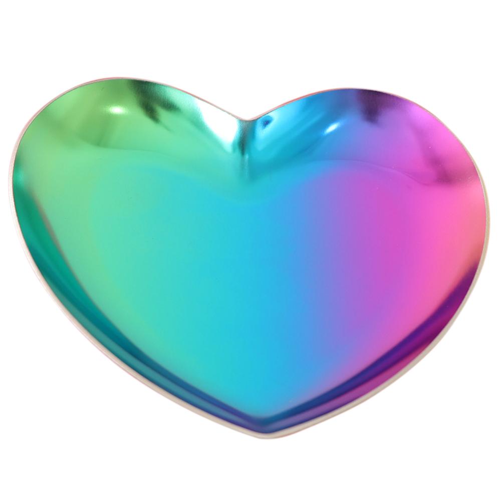 Блюдце из нержавеющей стали 430, Сердце, разноцветное,