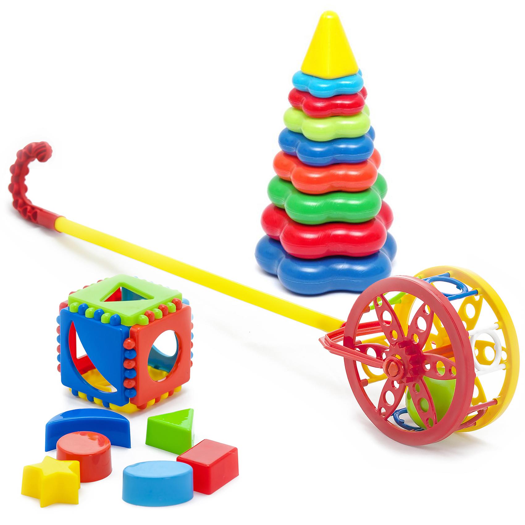 Купить Набор развивающий Carolina Toys Каталка Колесо+ Кубик лог. малый+ Пирамида детская большая, Karolina Toys,
