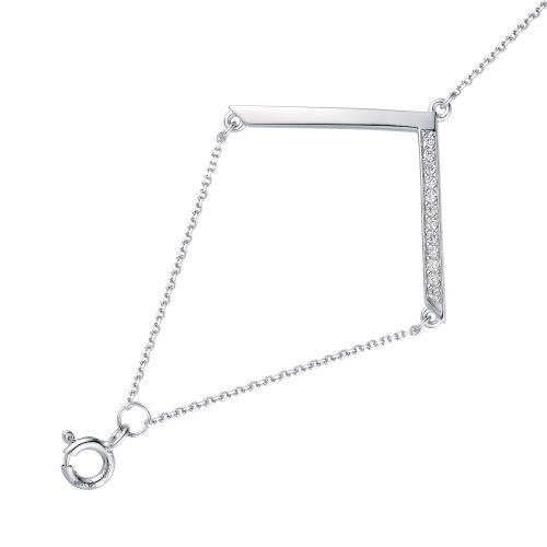 Браслет женский АЛЬКОР 05-1566/00КЦ-00 из серебра, фианит, регулируемый