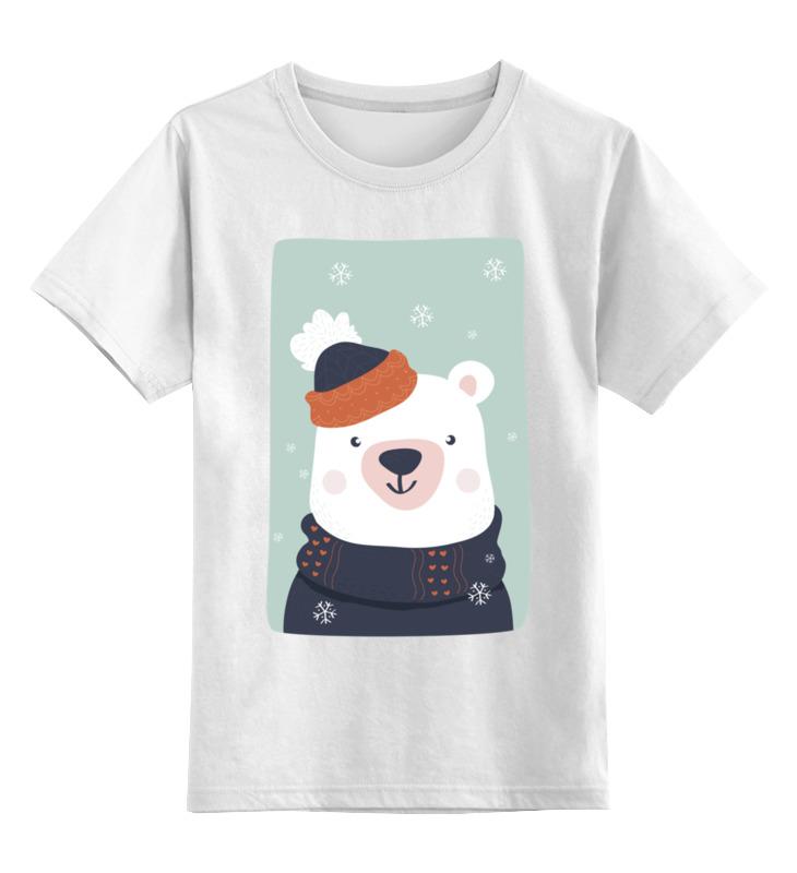 Купить 0000002654519, Детская футболка Printio Белый медведь цв.белый р.152,