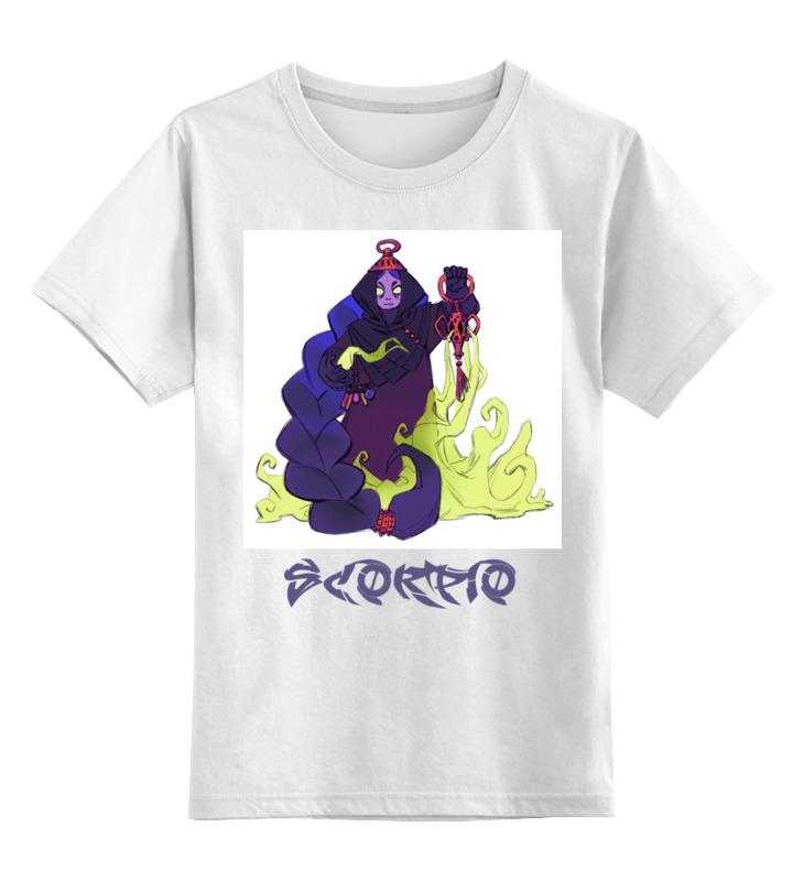 Купить 0000002668560, Детская футболка Printio Знак зодиака скорпион цв.белый р.152,