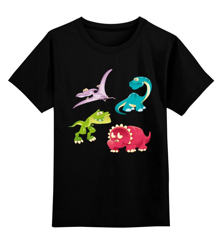 Купить 0000002672140, Детская футболка Printio Динозавры цв.черный р.152,
