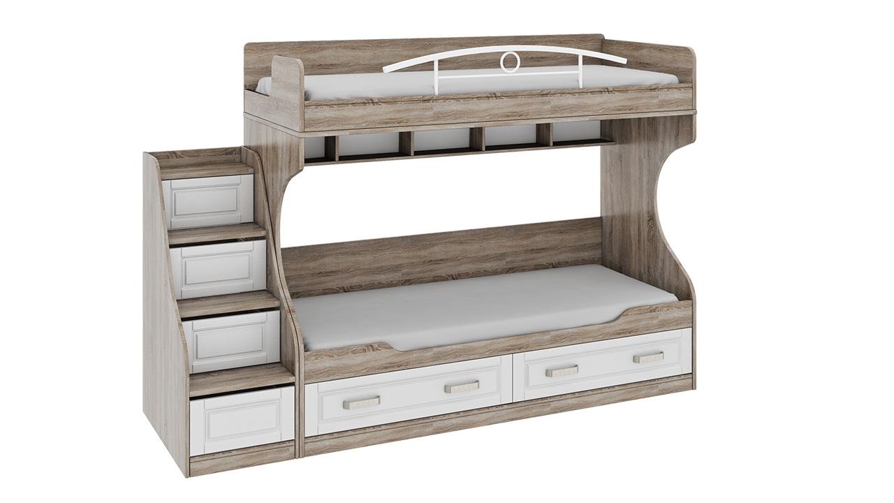 Двухъярусная кровать с лестницей с ящиками Трия