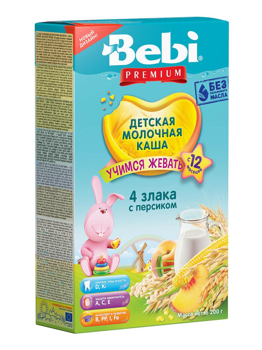 Купить Молочная каша Bebi Premium 4 злака с персиком с 12 мес., 200 г, Детские каши
