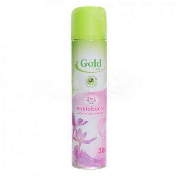 Освежитель воздуха Gold mint цветочный антитабак спрей 300 мл