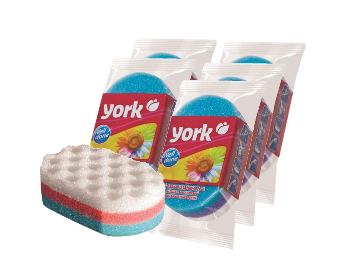 Купить Губка для ванны YORK массажная Радуга/Тукан 1 шт. (набор из 5штук)