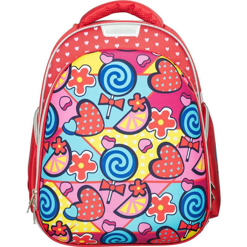 Купить Ранец №1 School Конфетки красный, Школьные рюкзаки для девочек