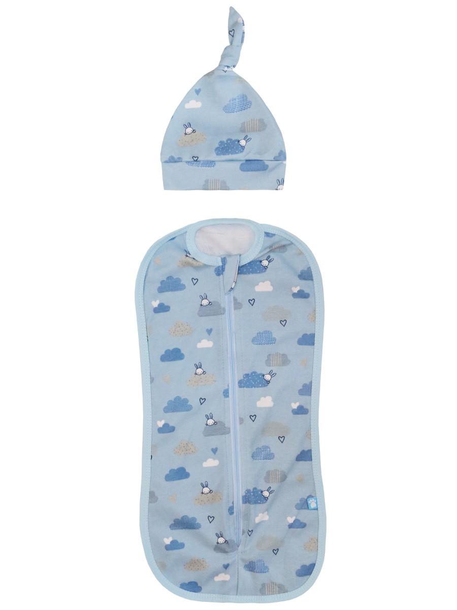 Купить 11112, Комплект для новорожденного Котмаркот пеленка-кокон и шапочка, цв. голубой, р. 56-62, КотМарКот, Комплекты для новорожденных