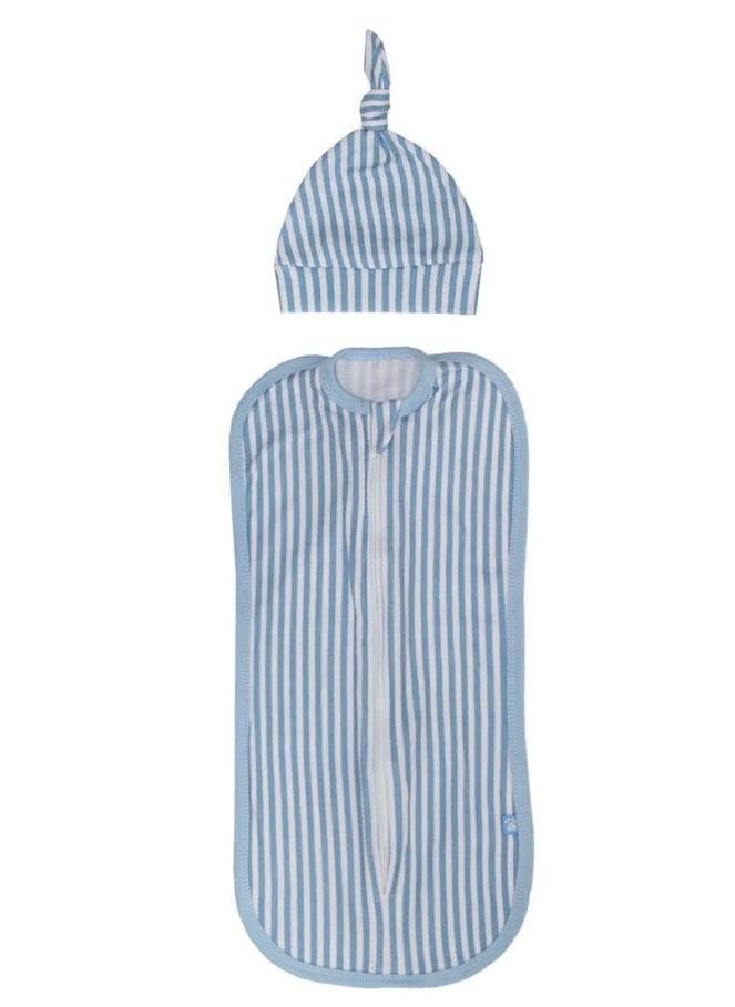Купить 11120, Комплект для новорожденного Котмаркот пеленка-кокон и шапочка, цв. голубой/белый, р. 62-68, КотМарКот, Комплекты для новорожденных