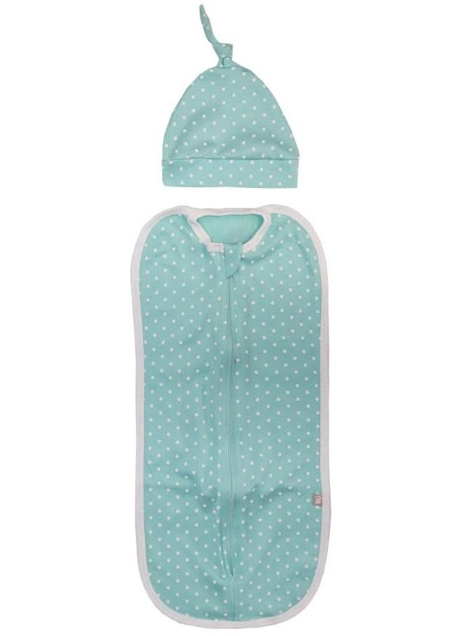 Купить 11121, Комплект для новорожденного Котмаркот пеленка-кокон и шапочка, цв. зеленый, р. 62-68, КотМарКот, Комплекты для новорожденных