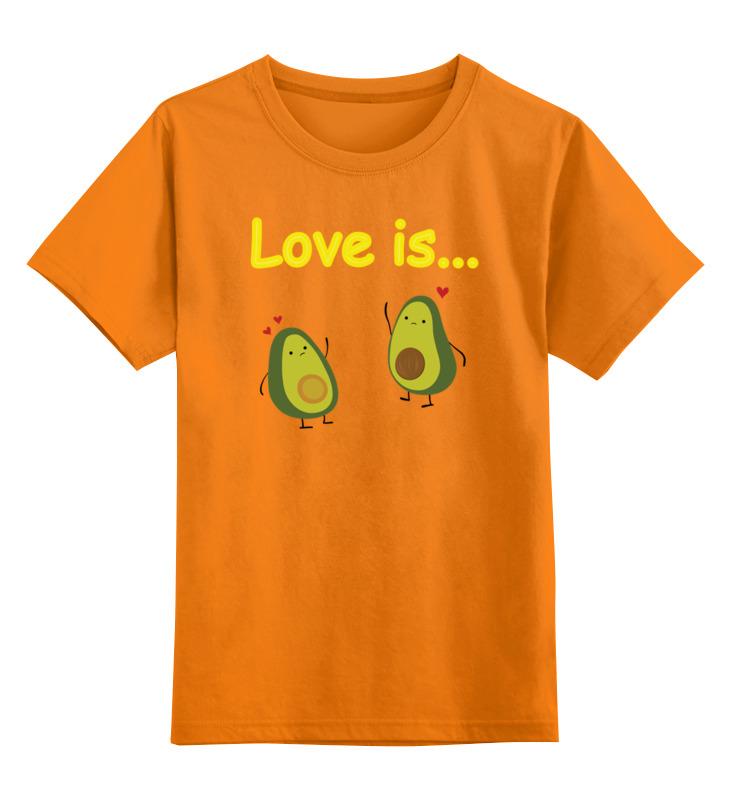 Купить 0000002832656, Детская футболка Printio Love is... цв.оранжевый р.152,