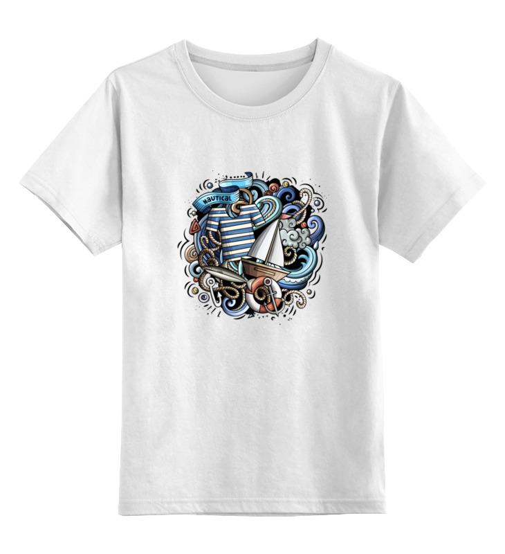 Купить 0000002892103, Детская футболка Printio Моряк цв.белый р.140,