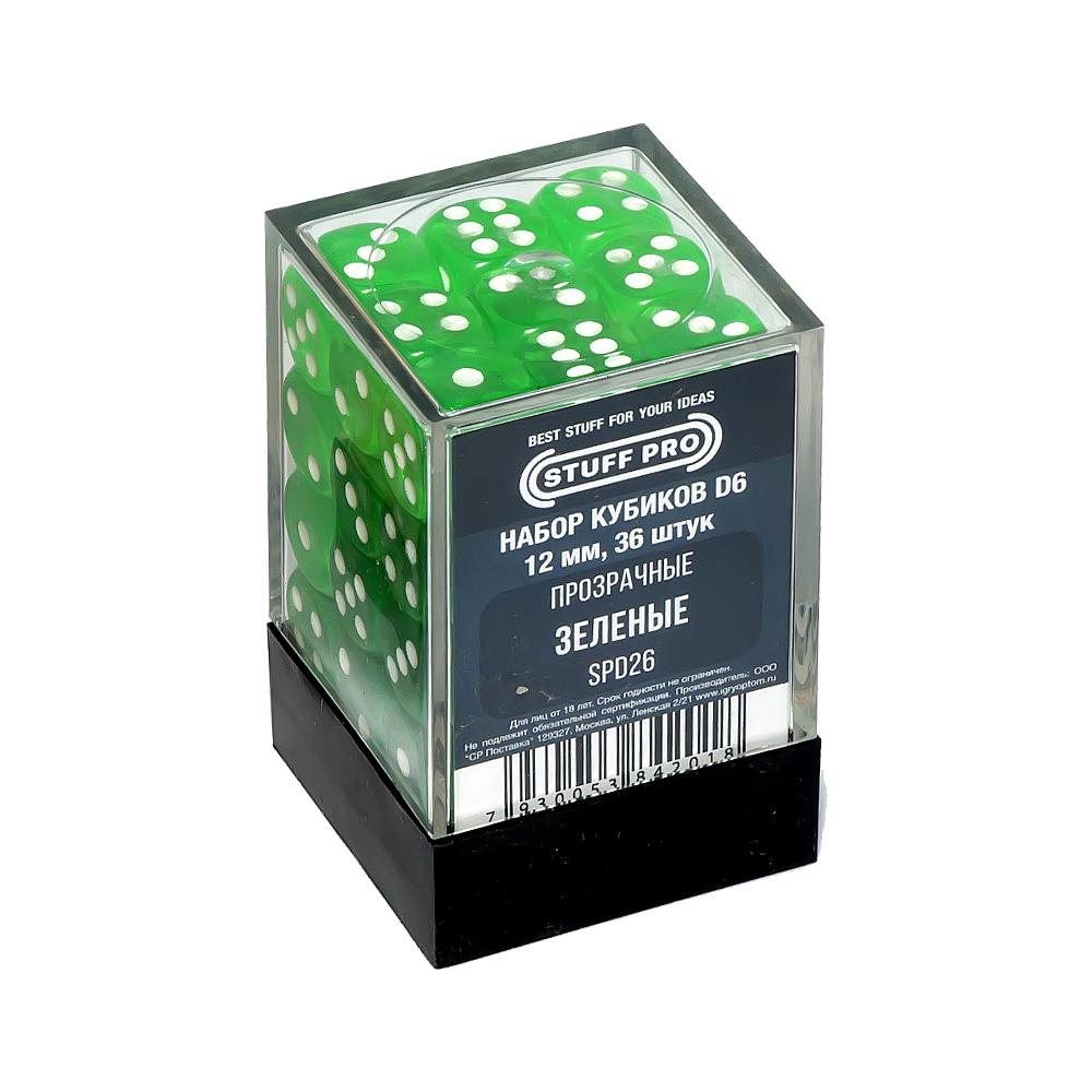 Набор кубиков STUFF PRO D6. Прозрачные Зеленые