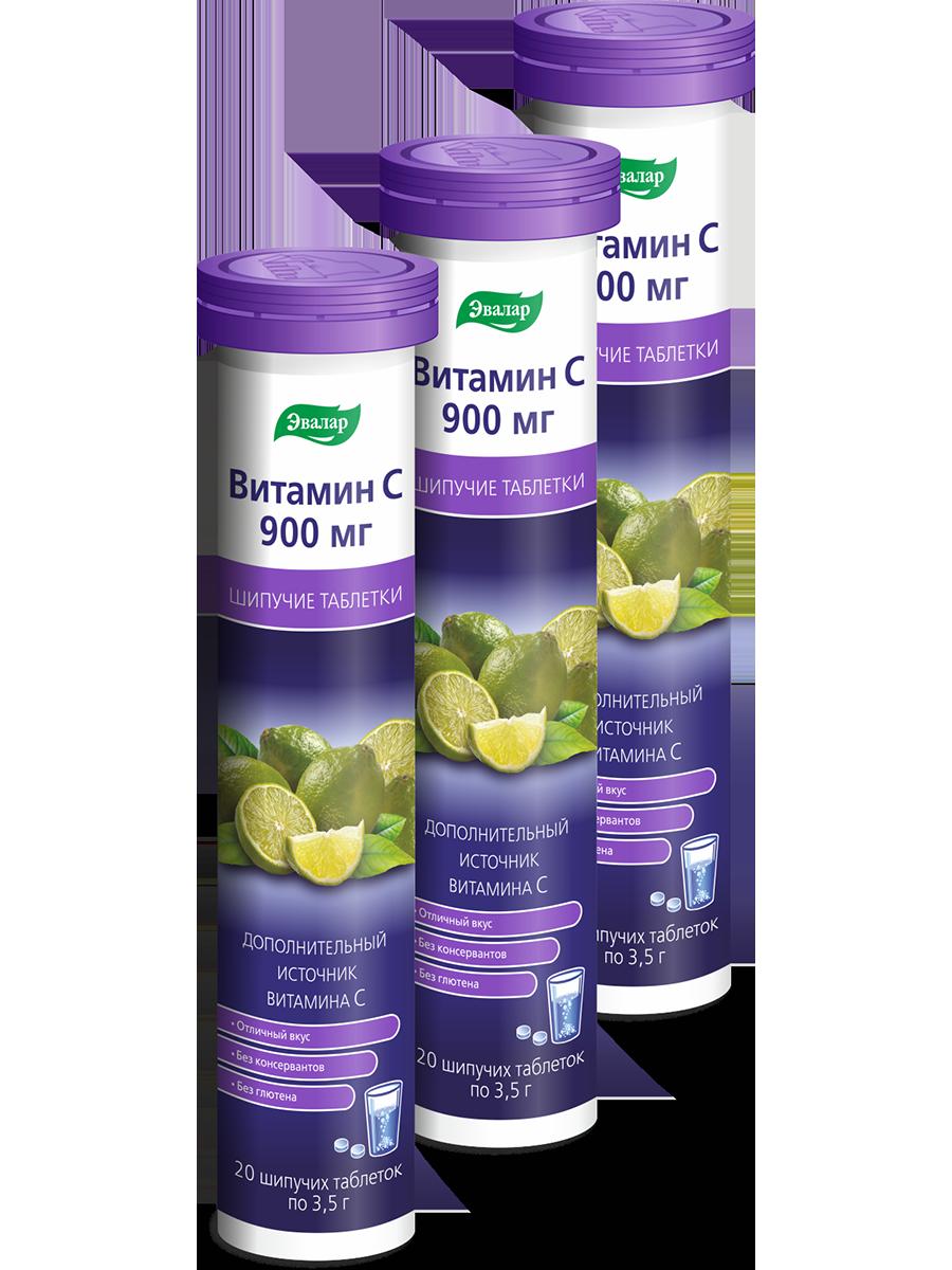 Купить Витамин С 900 мг, 20 шипучих таблеток, туба, блок №3, Эвалар, Витамин С Эвалар 900 мг шипучие таблетки 20*3 шт.