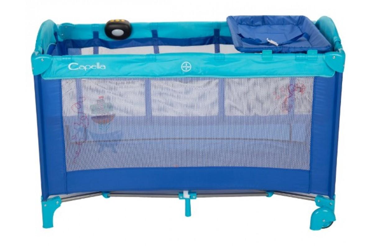 Манеж-кровать Capella Sweet Time Whale/Dinosaur синий
