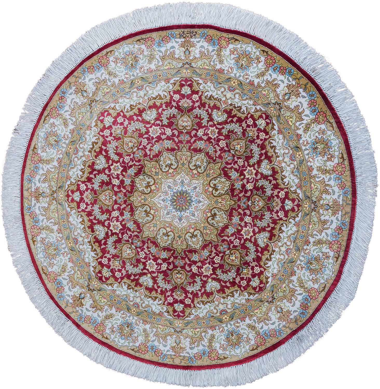 Круглый шелковый ковер ручной работы коллекции «Qum Mm Ir» 54287, 100x100 см