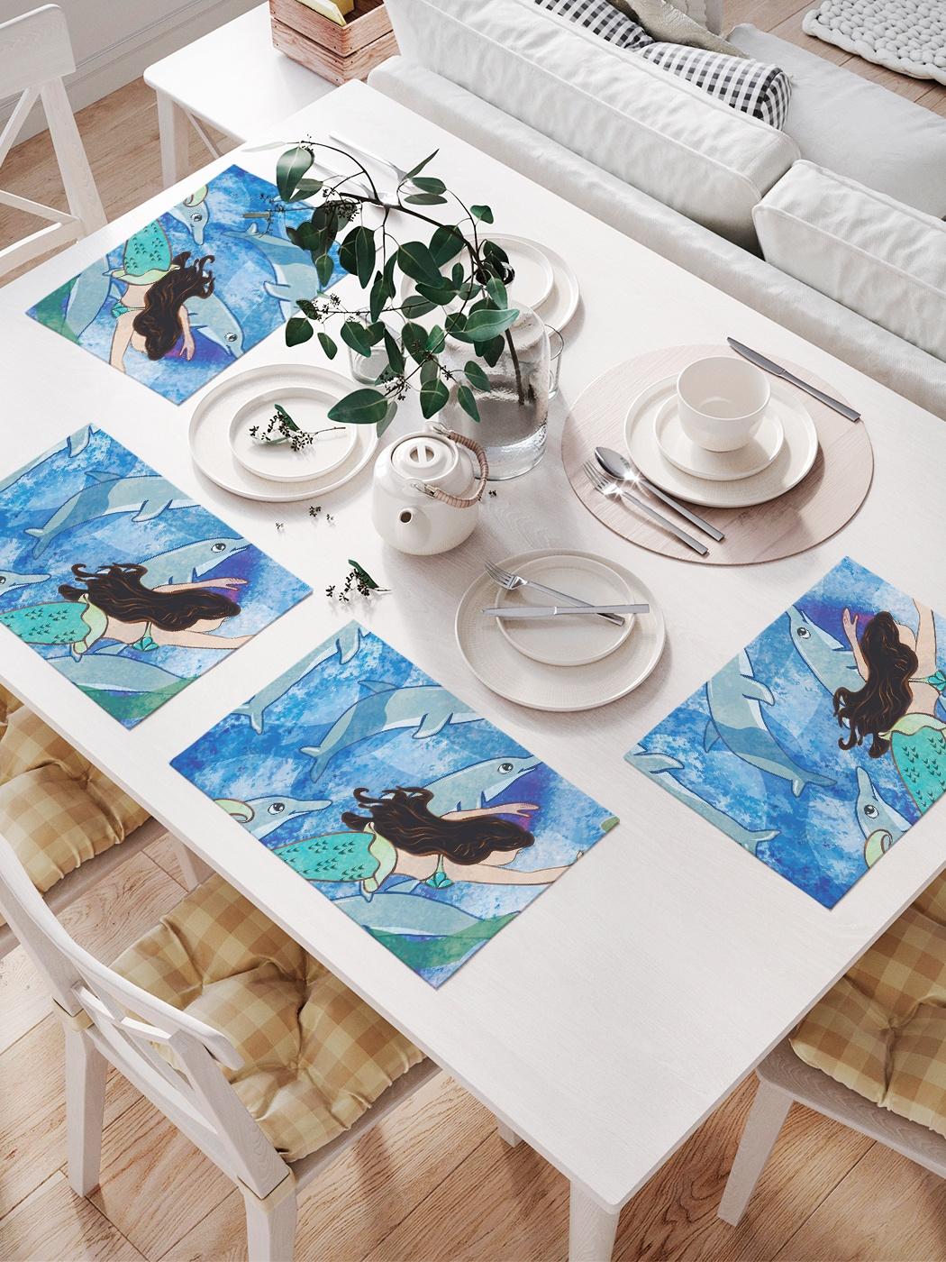 Комплект салфеток для сервировки стола «Дельфины и русалка» (32х46 см, 4 шт.)