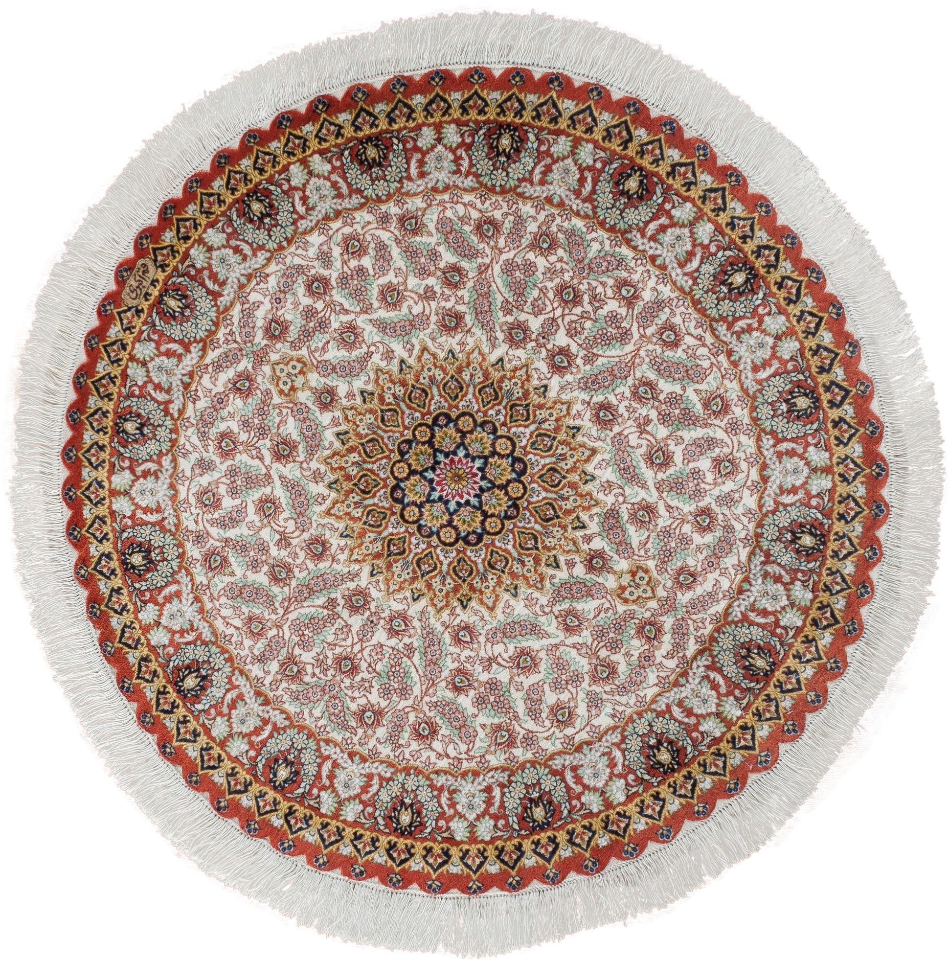 Круглый шелковый ковер ручной работы коллекции «Qom Ir» 54259, 97x97 см