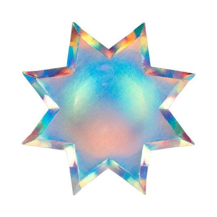 Набор тарелок Meri Meri Блестящие звезды восьмиугольные