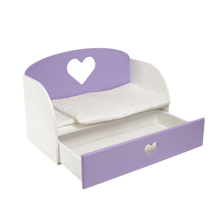 Купить Диван-кровать для кукол PAREMO Сердце, цвет сирененвый, Мебель для кукол