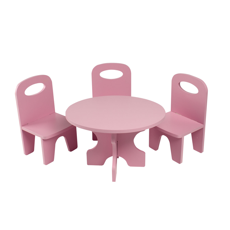 Набор мебели для кукол PAREMO PFD120-38 Классика стол + стулья, розовый