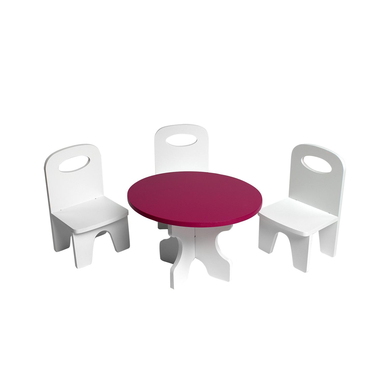 Набор мебели для кукол PAREMO PFD120-39 Классика стол + стулья, белый/ягодный