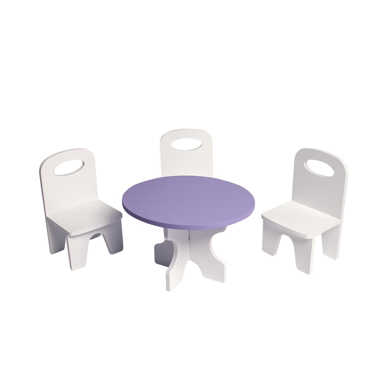 Набор мебели для кукол PAREMO PFD120-40 Классика стол + стулья, белый/фиолетовый