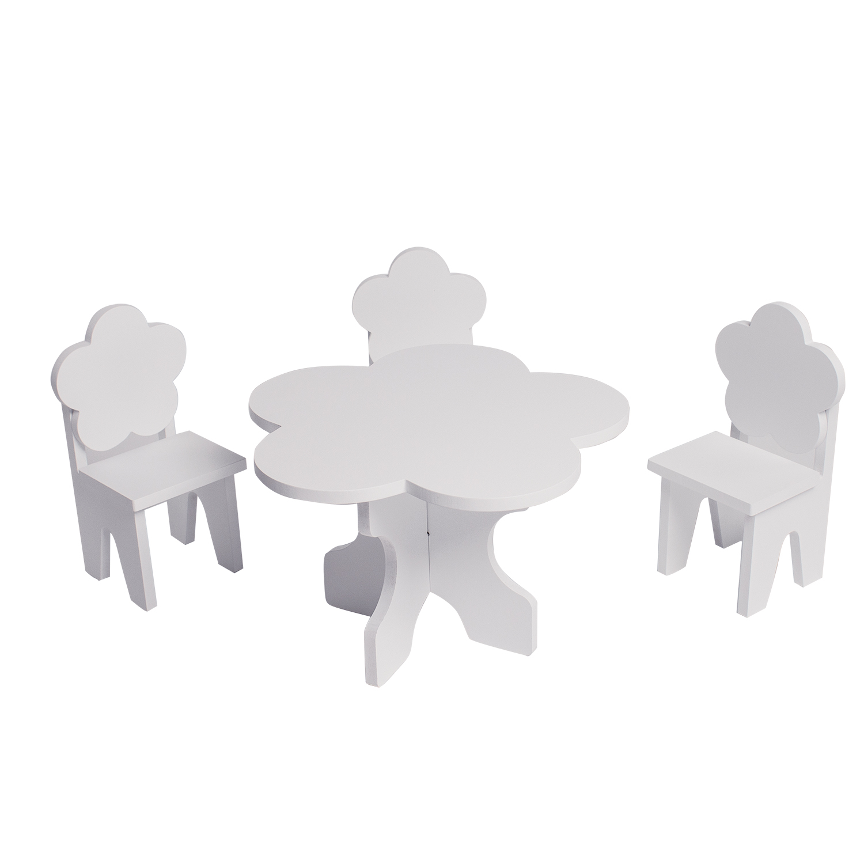 Набор мебели для кукол PAREMO PFD120-42 Цветок стол + стулья, белый