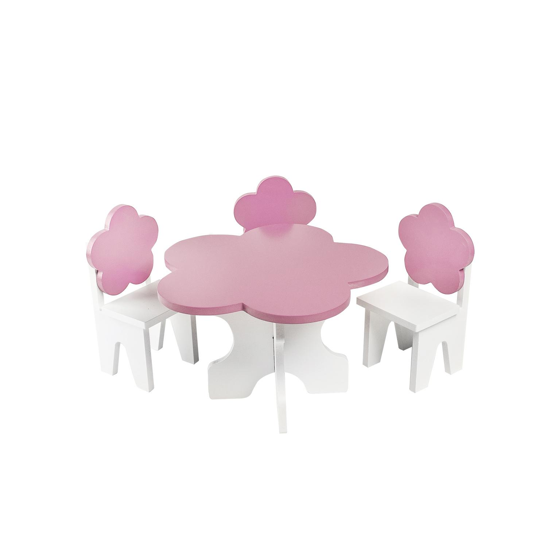 Набор мебели для кукол PAREMO PFD120-43 Цветок стол + стулья, розовый
