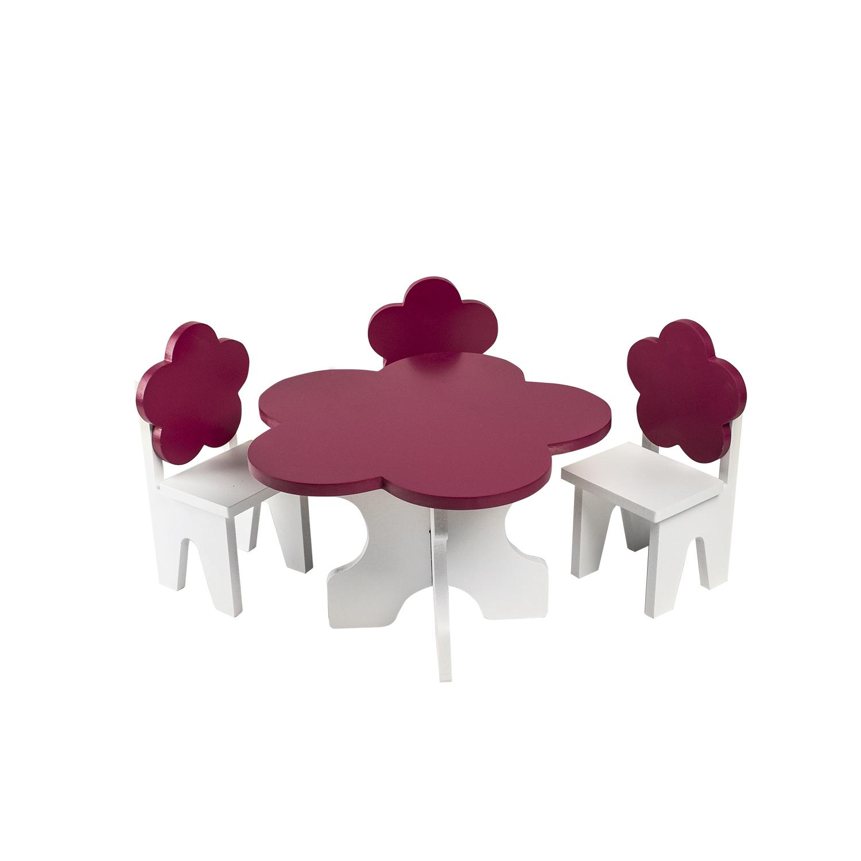 Набор мебели для кукол PAREMO PFD120-44 Цветок стол + стулья, белый/ягодный