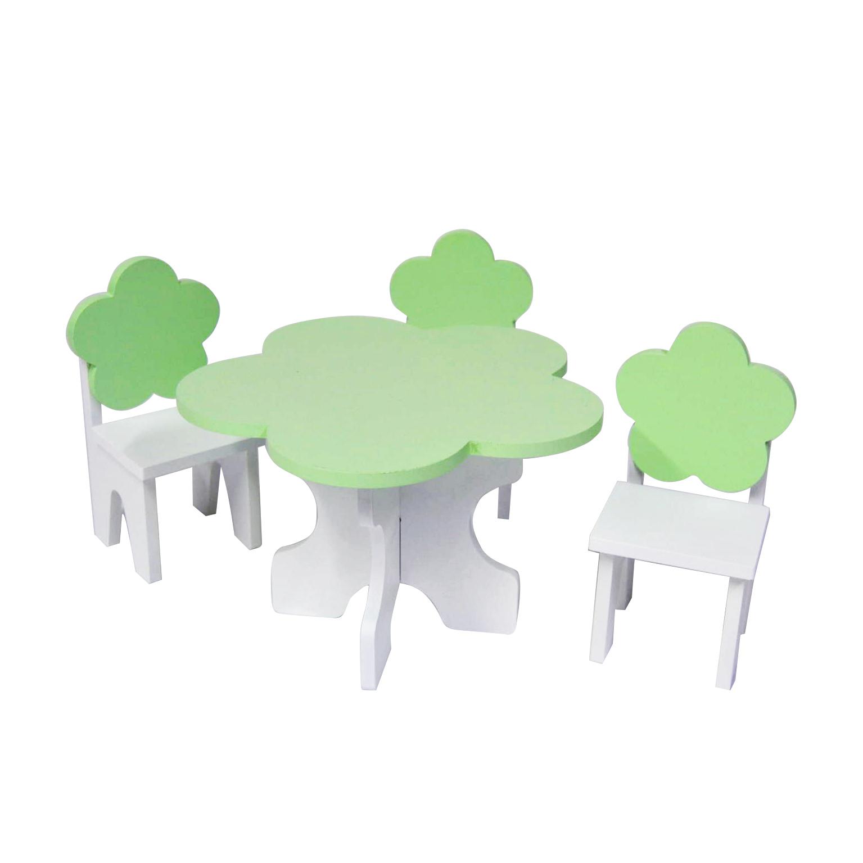 Набор мебели для кукол PAREMO PFD120-46 Цветок стол + стулья, белый/салатовый