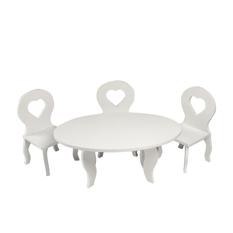 Набор мебели для кукол PAREMO PFD120-47 Шик стол + стулья, белый