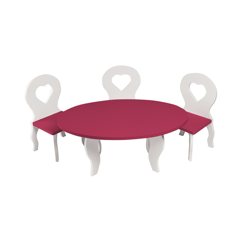 Набор мебели для кукол PAREMO PFD120-49 Шик стол + стулья, белый/ягодный