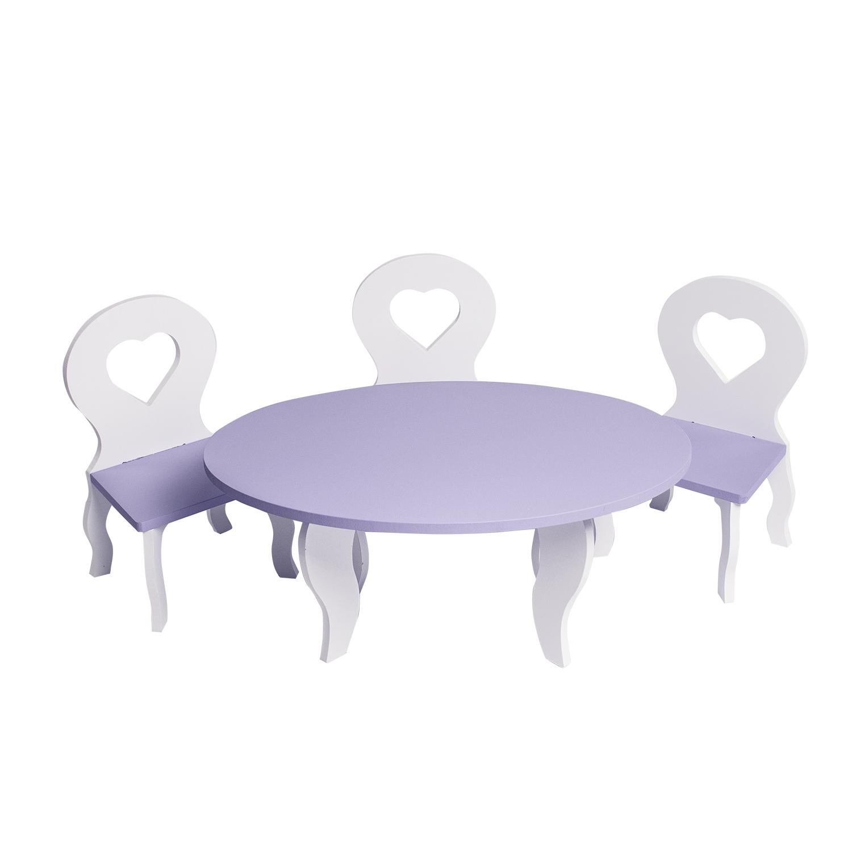 Набор мебели для кукол PAREMO PFD120-50 Шик стол + стулья, белый/фиолетовый