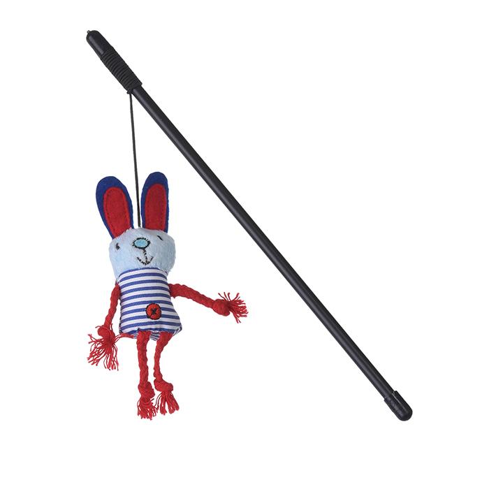 Игрушка для кошек Грызлик Ам Заяц с веревками