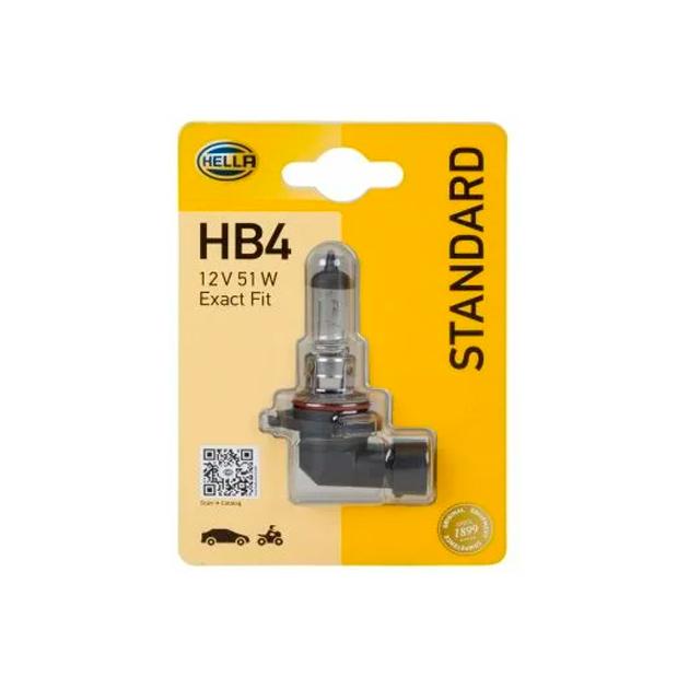 Лампа Накаливания, Hb4 12v 51w P22d Standard, Блистер (X1) HELLA 8GH 005 636-128