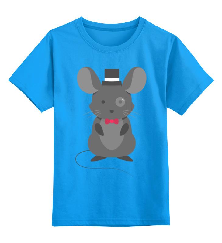 Купить 0000002880923, Детская футболка Printio Крыса цв.голубой р.128,