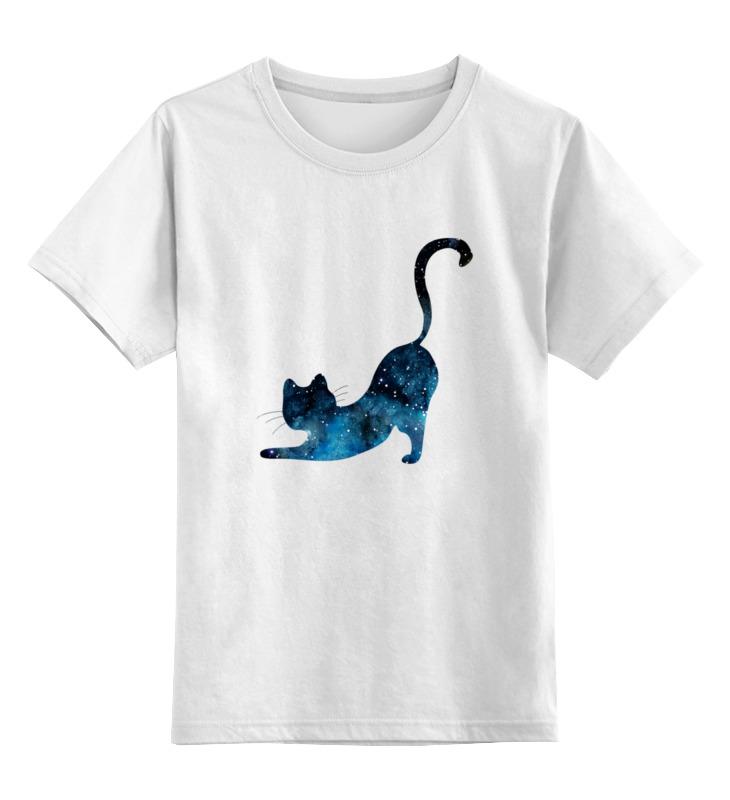 0000002888039, Детская футболка Printio Кошка цв.белый р.128,  - купить со скидкой